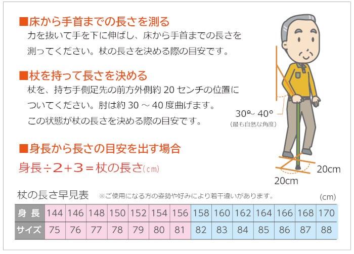 身長に対しての杖の長さの選び方