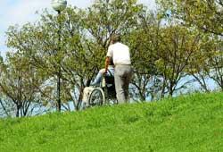 車椅子で散歩