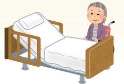 ベッドと車椅子利用者
