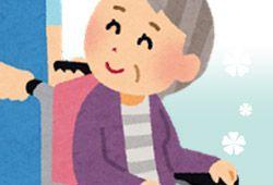 孫に車椅子を押してもらう母のイメージ