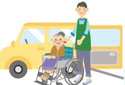 介護用車両と車椅子
