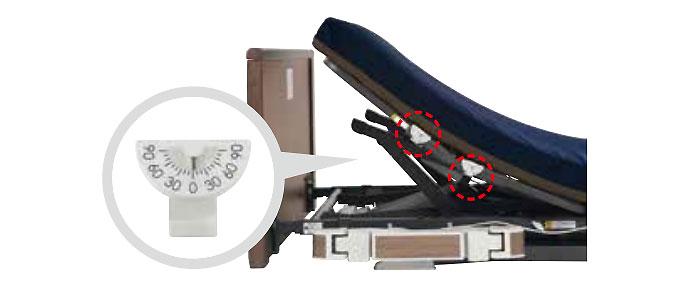 プラッツ 超低床介護ベッド ラフィオ 角度の確認に便利な角度計付