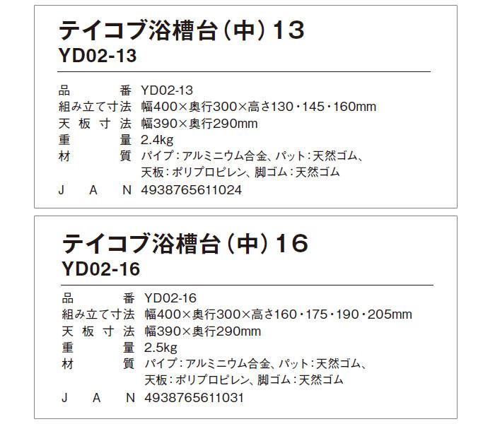 幸和製作所(TacaoF) テイコブ浴槽台(中) YD02-13/YD02-16のサイズ表