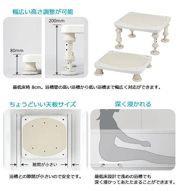 ユニプラス 浴槽内いす 80・120-200 BSN09の機能