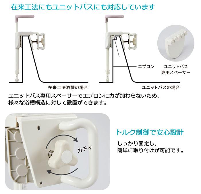 幸和製作所(TacaoF) ユニプラス 浴槽手すり UB兼用130の主な機能