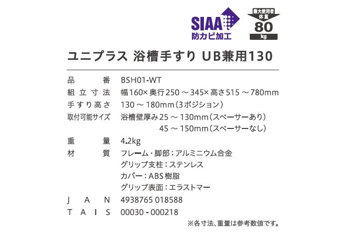幸和製作所(TacaoF) ユニプラス 浴槽手すり UB兼用130 BSH01のサイズ表
