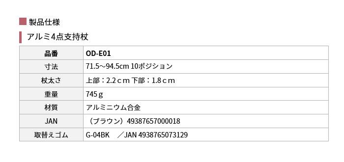 アルミ4点支持杖のサイズ表