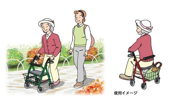 四輪歩行車 KW20の使用イメージイラスト