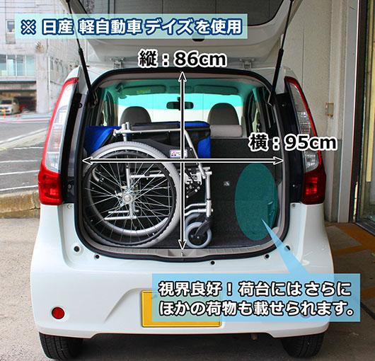 自走式アルミ製車椅子 ハピネスコンパクトの折りたたみサイズ