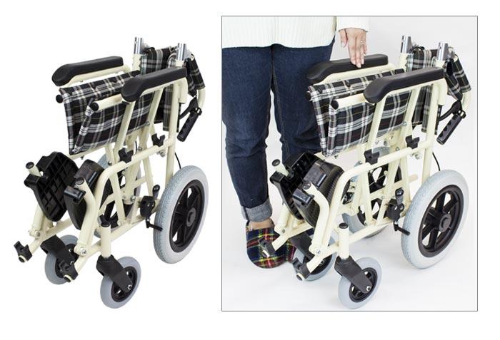 介助式アルミ製車椅子 CA-41SU車椅子の折りたたみ画像