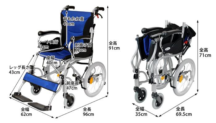 介助式車椅子 ハピネスプレミアム-介助式-CA-42SUの折りたたみ